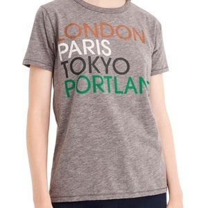 J. Crew London Paris Tokyo Portland Travel T Shirt